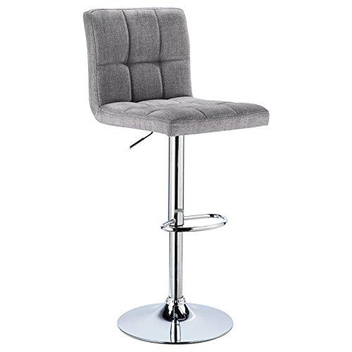 WOLTU® 1 x Barhocker Barstuhl Tresenhocker Stuhl drehbar und höhenverstellbar Tresen Hocker Leinen Hellgrau BH32hgr-1