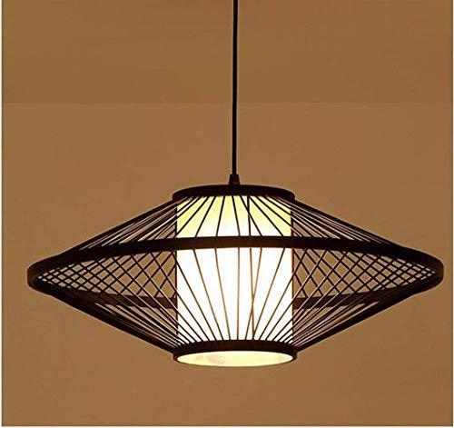 HYY-YY Pendant Lamp Chandelier Restaurant Light Hotel South East Asia Bamboo Weaving Living Room Japanese Retro Brown 60Cm