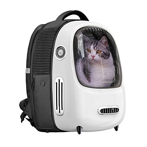PETKIT Cat Backpack Carrier, Portable Travel Space Capsule for Cats and Small Dogs, Ventilated Pet Carrier Backpack with Inbuilt Fan & Light, Comfort Pet Backpack with Padded Strap, Lightweight