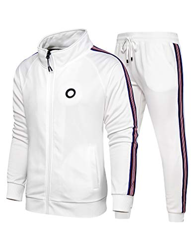 Lavnis Men's Casual Tracksuit Long Sleeve Full-Zip Running Jogging Sports Jacket and Pants Style 1 White L