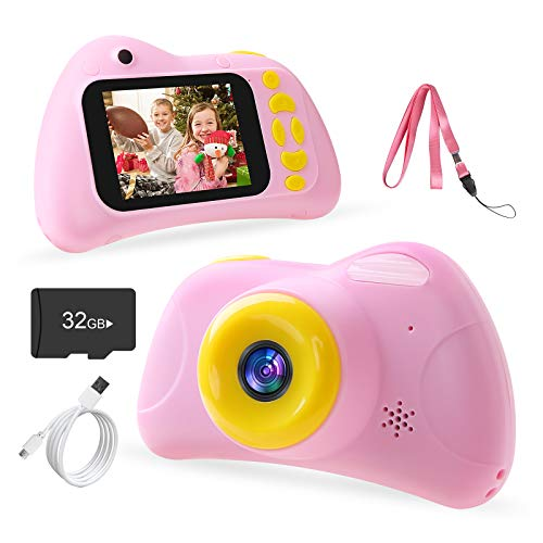 Tenswall Kids Camera, 28MP Digital Camera for Boys Girls, 2 inch HD 1080P Toys Camera with Video Recorder, Great Gift for Kids, Toddlers, Age 3 4 5 6 7 8 9 10, 32GB SD Card Included (Pink)