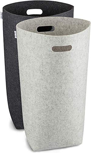 Elwin Neiles® - 80L/2St. - Designer Wäschekorb aus stilvollem Filz - Faltbarer Wäschesammler mit ergonomischen Griffen & Sichtschutz - Wäschesack