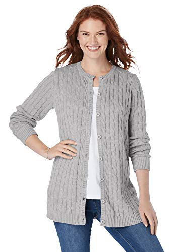 Woman Within Women's Plus Size Cable Knit Cardigan Sweater - 5X, Medium Heather Grey Gray