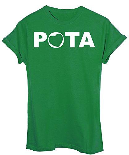 iMage T-Shirt Pota Parola Famosa Proverbi Nord - Divertente - Donna-M - Verde Mela