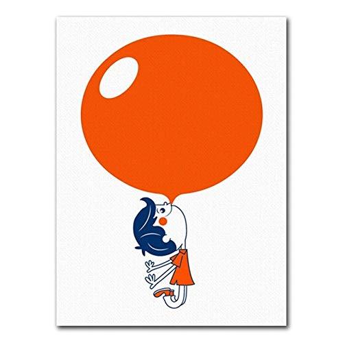 Geiqianjiumai Nordic ballon oranje cartoon paraplu jongens en meisjes schilderij op canvas kinderkamer wanddecoratie