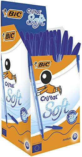 BIC Cristal Soft bolígrafos punta media (1,2 mm) - Azul, Caja de 50 unidades