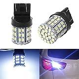 Bandas de faros del coche 2PCS T20 LED Luz de freno de coche W21W 7443 7440 3156 3157 64SMD 1206 LED Bombilla de la lámpara de la luz de la cola de la reserva automática blanca 12V