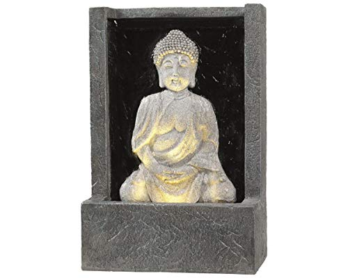 Kaemingk Sitting Buddha LED Lit Grey Outdoor Fountain