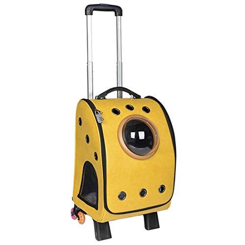 JJL Rolling Pet Travel Carrier con Ruedas y Mochila, 32 * 29 * 46 cm, Air Travel Pet Carrier, Aeropuerto Pet (Color : Amarillo)