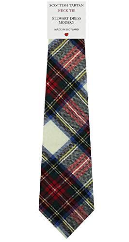 I Luv Ltd Cravate en Laine pour Homme Tissée et Fabriquée en Ecosse à Stewart Dress Modern Tartan