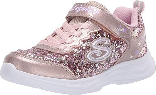 Skechers Kids Girl's Glimmer Kicks-Glitter N'GLOW Sneaker, Gold/Pink, 2 Medium US Little Kid
