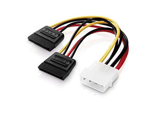 adaptare 34002 15 cm Adapter-Kabel 4-pin Molex auf 2-mal 15-pin SATA-Stecker schwarz