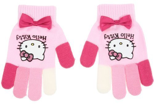 Gants multicouleur + noeud enfant fille Hello kitty Rose TU