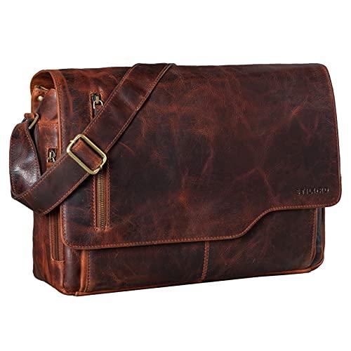 STILORD 'Marlon' Ledertasche Herren Business Uni Büro Vintage Umhängetasche groß DIN A4 mit 15.6 Zoll Laptopfach Elegante Aktentasche aus echtem Rinds Leder, Farbe:Bordeaux - braun