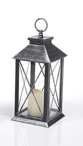 Outdoor Laterne, Grablaterne mit LED Licht mit einer Brenndauer von bis zu 200h mit Timer 4 & 8 h Timer, Grablicht, Grableuchte, Grabkerze