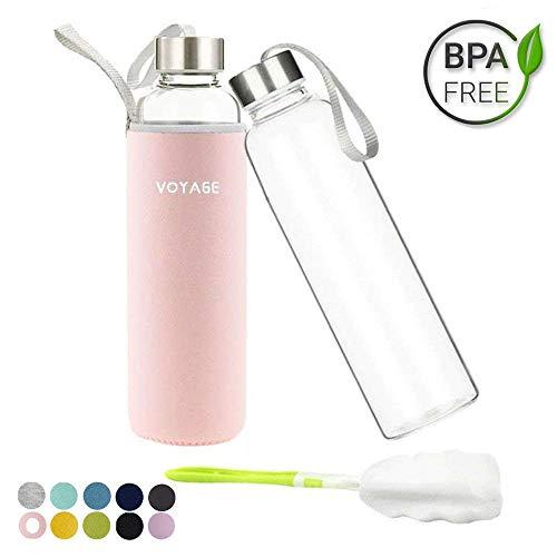 Voarge Glasflasche - BPA-frei 550ml Trinkflasche Classic mit Nylon Tasche - für Auto - für Unterwegs Sport Flasche Glas Flasche Water Bottle Wasserflasche Trinkflasche aus Glas (Rosa)