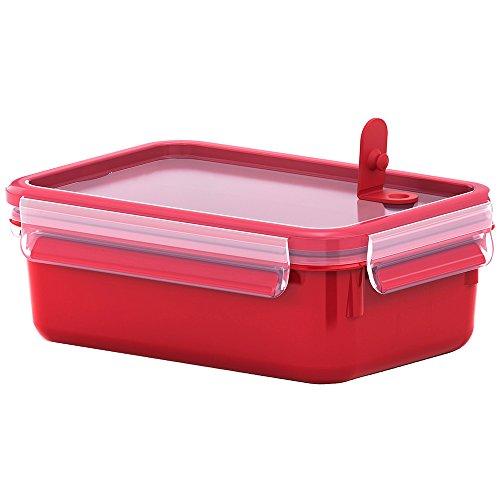 Emsa Mikrowellendose, Lunchbox, 1,0 Liter, Rot/Transparent, Clip & Micro, 517773
