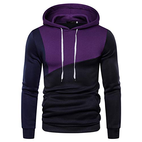 DOLAA Men's Pullover Hoodies Hooded Sweatshirt Patchwork Top Casual Hoody with Kanga...