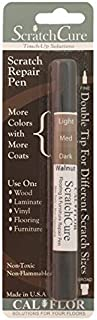 Cal-Flor PE49406CF ScratchCure 3 Shade Double Tipped Repair Pen for Use on Wood, Laminate, Vinyl, Flooring & Furniture, Walnut by Cal-Flor