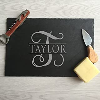 Pertems Personalized slate cheese board Initial Family Name Gift Food and Cheese Platter Cheese tray Split Font Design 8 by 12 Inch (1 Medium 8 x 12 personalized)