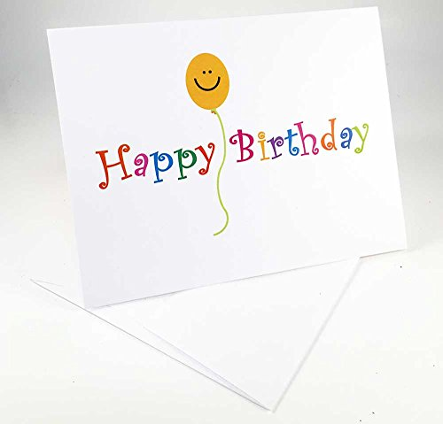 18 Happy Birthday & Smiley Face Balloon Cards - Blank Gift Birthday Cards - Boxed Set