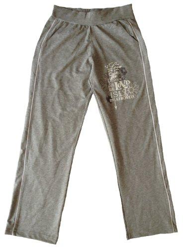 Dames fitnessbroek/joggingbroek, brede elastische tailleband met trekkoord binnenin, print op de bovenbenen, 2 zijzakken, dubbele bies aan de zijkant.