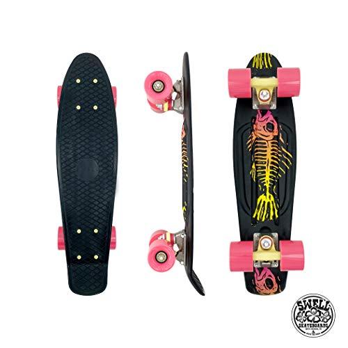 Swell Skateboards Fishbone Mini Cruiser 55,9 cm für Jugendliche und Erwachsene, rutschfestes Kunststoffdeck mit hochfesten Trucks, großen Rädern und ruhigen Lagern, Anfänger und Profi Skaterboard