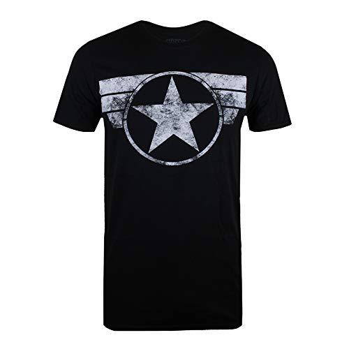 Marvel Captain America-Cap Logo Camiseta, Negro (Black Blk), Large para Hombre