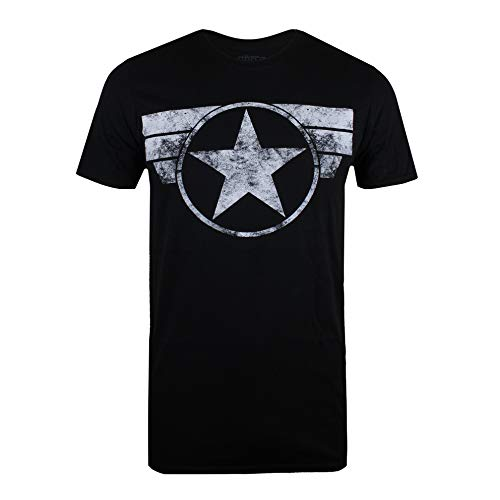 Marvel Captain America-Cap Logo Camiseta, Negro (Black Blk), Medium para Homb