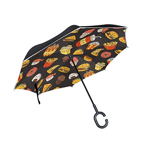 Patio Umbrella for Car Outdoor Umbrella with C-Shaped Handle Windproof Reverse Umbrella Pizza French...