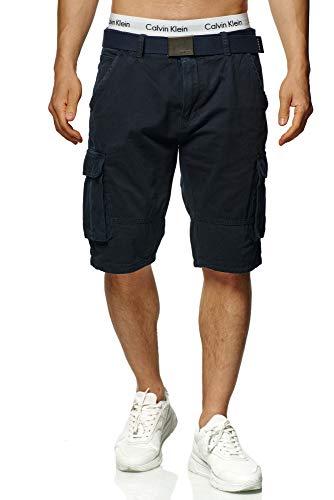 Indicode Herren Blixt Cargo Shorts mit 6 Taschen inkl. Gürtel aus 100% Baumwolle | Kurze Hose Sommer Herrenshorts Short Men Pants Cargohose Bermuda Sommerhose kurz für Männer Navy M