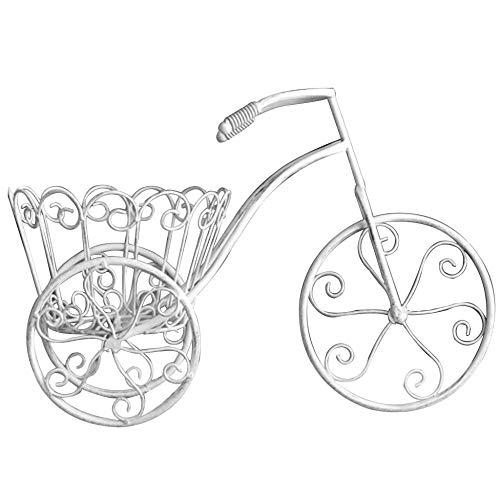 Rack de flores de triciclo de hierro retro, jardín hecho viejo bicicleta plantilla, balcón jardín creativo decorativo back-blanco_34 * 51 * 23cm