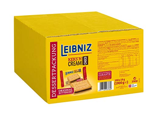 LEIBNIZ Keks'n Cream Choco - Doppelkekse - 100 einzeln verpackte Dessertpackungen im Catering-Karton - Original Butterkekse mit Schoko-Creme Füllung (100 x 19 g)