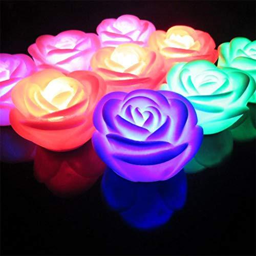 Uonlytech 12 stücke Bunte Rose Nachtlicht Wasser Schwimmende Rose Kerzenlicht Schwimmende Kerze Licht Party Nachtlicht für Zuhause Hochzeit Event Dekoration (weiß)