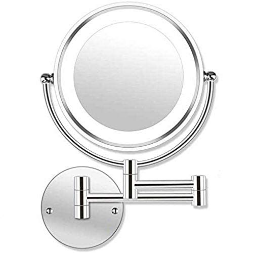 GAOFQ 8'LED Espejo de Maquillaje montado en la Pared Pantalla táctil Luz Ajustable Doble Cara Espejo de tocador con Aumento 1X / 10X Eslabón Giratorio Extensible para baños Hoteles Recarga USB