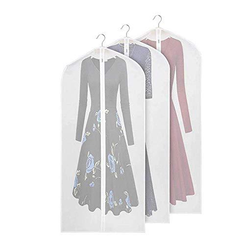 Trouwjurkhoezen, set van 2 ademende kledinghoezen transparante pakzak stofdichte doeken Opslag met volledige rits en bovenste gat voor Hanger Haak Elegante avondjurk van de ochtend, W-D, a, 60