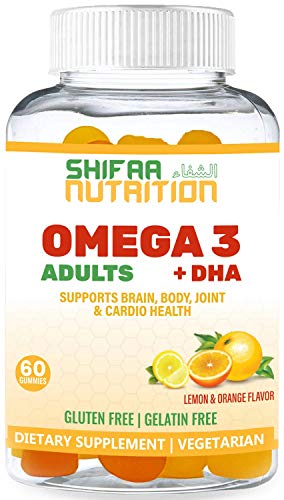 Vegan Omega 3 Gummies For Adults | No Fish Oil Burps | 60 Gummies | Plant Based w/ Chia Oil, Algae | Omega 3 6 9 w/ DHA, Vitamin C | For Brain, Cardiovascular & Immune Support | SHIFAA NUTRITION Halal
