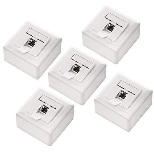 deleyCON 5X CAT6a Universal Netzwerkdose - 1x RJ45 Port - Geschirmt - Aufputz oder Unterputz - 10 Gigabit Ethernet Netzwerk - EIA/TIA 568A&B - Weiß
