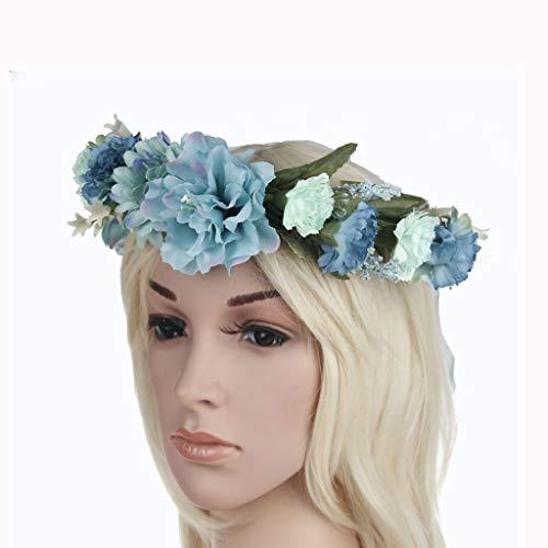 LYM Fleur Couronne Bandeau Fleurs Guirlande Mariage Festival Cheveux Accessoires (Couleur : B)
