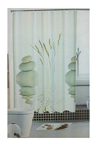 GMMH Duschvorhang Anti Schimmel Effekt Badewannenvorhang Wasserdicht inkl.12 Ringe (Steine)