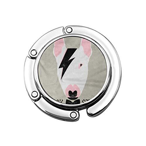 Lustiges Porträt des Hundes Rockstar Bullterrier Animal Tattoo Bone Star Faltbare Handtasche Haken Geldbörse Haken Kleiderbügelhalter für Autotisch