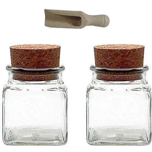 Viva Haushaltswaren–Tarros de Cristal (6tarros de Especias 150ml, con tapón de Corcho, para Especias Sal, Regalos, etc, Incluye una Pala para Especias de Madera, Vidrio, Transparente, 120 ml