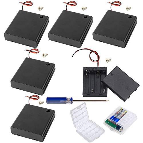 GTIWUNG 6 pezzi 4 AA 6V Custodia per Batterie Custodia per batterie in plastica con interruttore ON/OFF e alloggiamento in plastica dura, 2 pezzi plastica batteria Storage Case