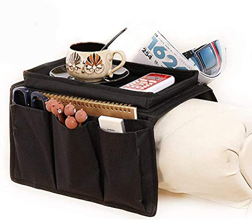 Armchair Caddy Couch Caddy Arm Rest Organiser TV Remote Control Holder Sofa Tray Remote Caddy Chairs Sofa Couch Storage Arm Tidy Armrest Organizer Pockets Armchairs Table Storage Bag with Cup Holder