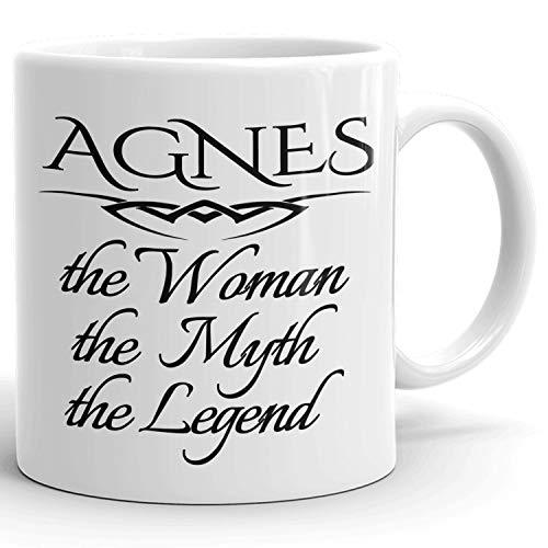 N\A Regalo Personalizado para Mujer! Agnes The Woman The Myth The Legend - Taza de café Taza para mamá Novia Esposa Abuela Hermana - Genial en la mañana o en la Oficina