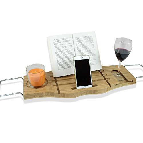 BamBridge La mejor bandeja para bañera hecha de bambú 100% natural. Bandeja de baño universal con soporte para vasos, jabón, teléfono/tablet/libro. OFERTA: con mini esponja de baño