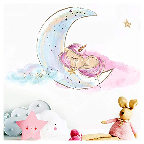 Little Deco Wandtattoo Kinderzimmer Einhorn auf Mond Mädchen I 49 x 32 cm (BxH) I Babyzimmer...