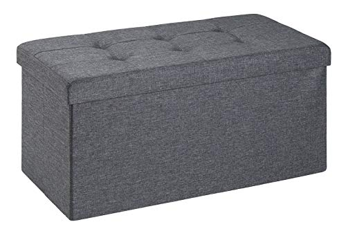 D&D Quality Puff Almacenaje Plegable, Asiento Acolchado, 76 x 38 x 38 cm - Carga Máxima de 300 kg (Gris Oscuro)