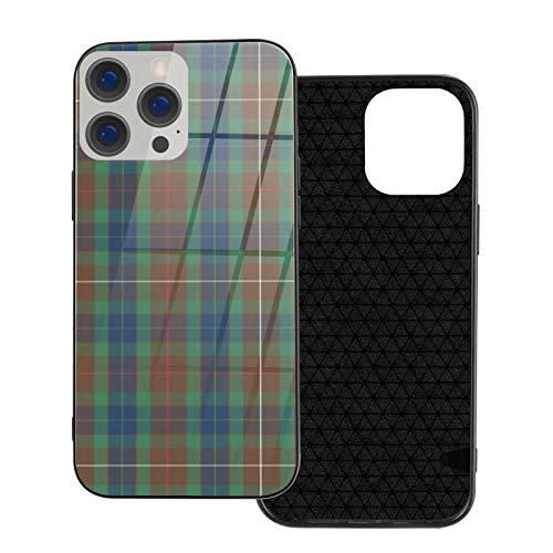 Funda de teléfono compatible con iPhone 12Pro Max-6.7 pulgadas, suave TPU cubierta de protección completa, parte trasera de vidrio templado, Fraser Modern Hunting Tartan