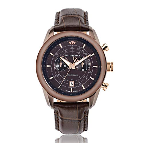 PHILIP WATCH Orologio da polso da uomo Seahorse, cronografo, al quarzo, in pelle, R8271996005